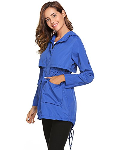 with Women Drawstring Solid Sleeve Meaneor Long Jackets Lightweight Blue Raincoat Hoodie qERZxU6