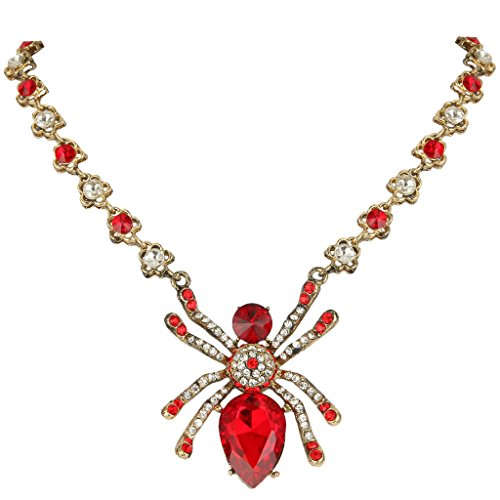 EVER FAITH Antique-Gold-Tone Austrian Crystal Vintage Inspired Halloween Spider Pendant Necklace -