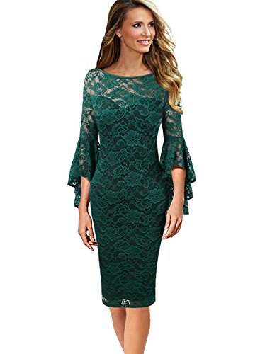 VFSHOW Womens Green Floral Ruffle Lace Bell Sleeve Slim Casual Cocktail Wedding Party Bodycon Pencil Sheath Dress 3370 GRN S