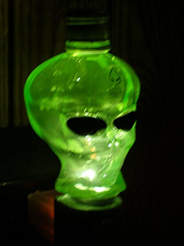 Outer Space Vodka Alien Head Green Glass Bottle Night - Vodka Lamp