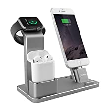 YoFeW Apple Watch Nightstand Mode Aluminum 4 in 1 Apple Watch Charging Docks Holder Stand AirPods Accessories for AirPods/ iWatch Series 2/ 1/ iPhone 7/7 Plus /6S /6S Plus/ iPad (Gray)
