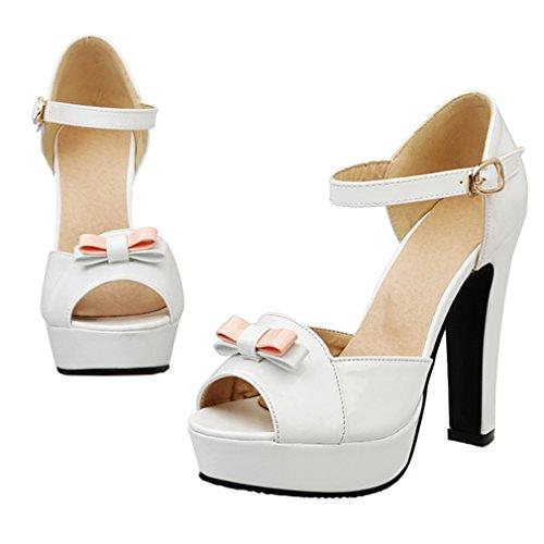 YE Damen Ankle Strap Lackleder Blockabsatz High Heel Plateau Sandalen mit Schleife und Schnalle Party Elegant Schuhe Weiß