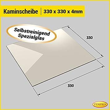 Temperaturbest/ändig bis 800/° C Temprix Kaminglas /& Ofenglas /» Wunschma/ße auf Anfrage /« Ofenscheibe /& Kaminscheibe 330 x 330 mm feuerfestes Glas f/ür Kamin /& Ofen