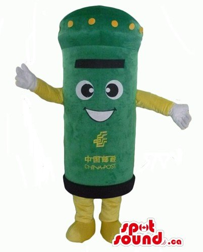 Costumes Postman (Green and yellow postman SpotSound Mascot US costume with big eyes and)
