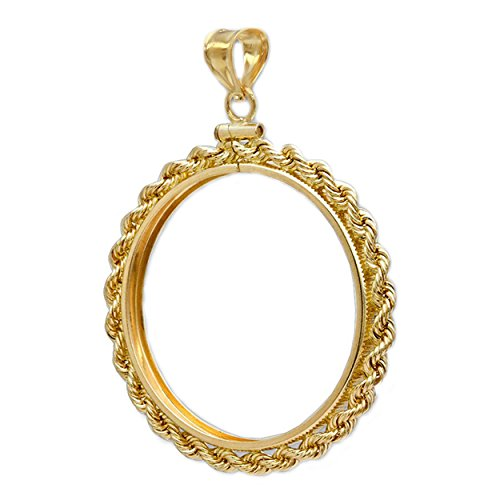 1 oz $50 Buffalo 14k Gold Rope Coin Bezel Frame Mount Pendant