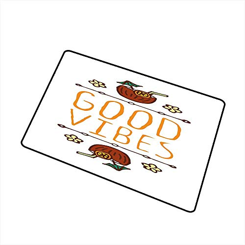 Good Vibes Commercial Grade Entrance mat Hand Sketch Style Summer Elements Coconut Cocktail Drinks and Flowers for entrances garages patios W31.5 x L47.2 Inch Orange Redwood Green