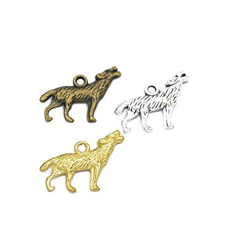 60pcs Charms Howling Wolf Tibetan Silver Plated Pendants Antique Jewelry Making DIY Handmade Craft 28x16mm (60pcs)