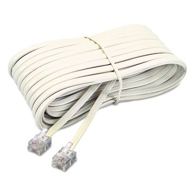 Telephone Extension Cord, Plug/Plug, 25 ft., Ivory, Sold as 2 Each