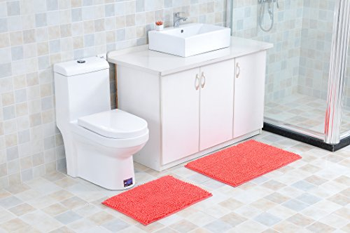2-Piece Royale Chenille Extra-Soft and Absorbent Bathroom Mat Set, Machine-Washable, Perfect for Bath, Tub, and Shower (CORAL)