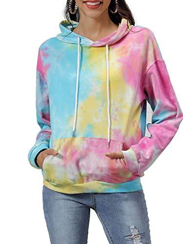 PERSUN Women's Cat Ear HoodieCute Tie Dye Friends Unicorn Long Sleeve Kangaroo Pouch Hooded Sweatshirts