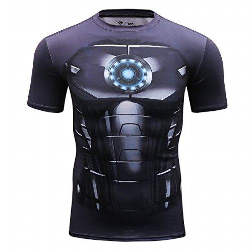Red Plume Men's Film Super-Hero Series Compression Sports Shirt Skin Running Short Sleeve Tee (M, Steel - Team Running Shirts