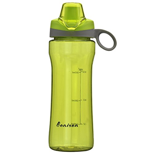 BONISON 14 OZ Kids Water Bottle With Flip Top Lid Leak Proof Bpa Free Drinking Water Bottle For School Running Outdoor Cycling And Camping Perfect Size For Kids-Green (Easy Halloween Party Drinks)
