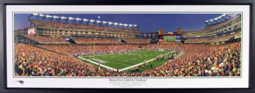 New England Patriots Moon Over Gillette Stadium Panoramic Framed