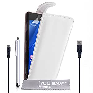 Yousave Accessories Sony Xperia Z3 Case White PU Leather Flip Cover With Stylus Pen And Micro USB Cable