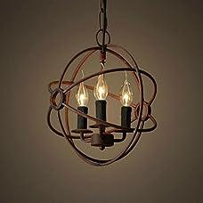 Perfectshow 3-Lights Vintage Edison Metal Shade Round Hanging Ceiling Chandelier Retro Iron Rustic Spherical Ceiling Pendant Light
