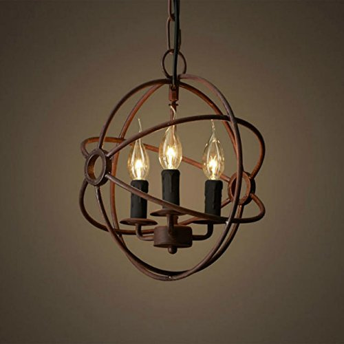 Perfectshow 3-Lights Vintage Edison Metal Shade Round Hanging ...