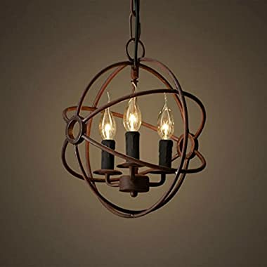 Perfectshow 3-Lights Vintage Edison Metal Shade Round Hanging Ceiling Chandelier Retro Iron Rustic Spherical Ceiling Pendant Light