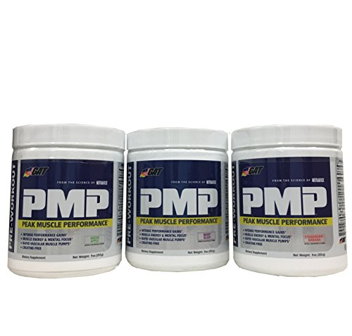 GAT PMP (Peak Muscle Performance), Next G0eneration Pre Workout Powder for Intense Performance Gains, Berry Blast, Green Apple, Strawberry Banana, 30 Servings, 9 Ounce