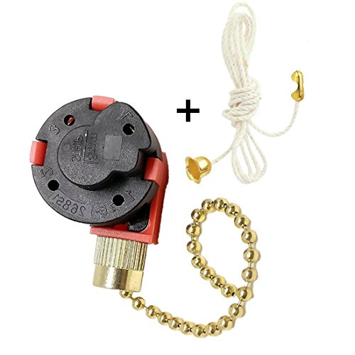 Ceiling Fan Switch Zing Ear ZE-268S1 3 Speed 4 Wire Pull Chain Control with Accessory for Ceiling Fans, Lamps and Wall Lights (Brass) ()