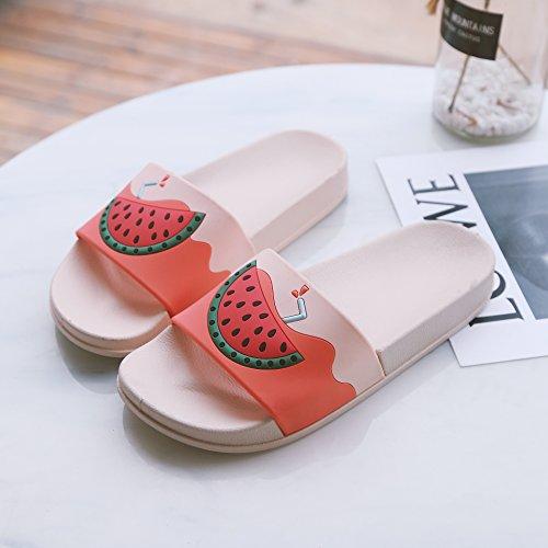 fankou Sandalias de Verano Mujeres Dentro y Fuera de la casa Las Parejas Cute Cool Zapatillas Personalizadas Baños casa Terreno Blando y hogar,40, Watermelon Red
