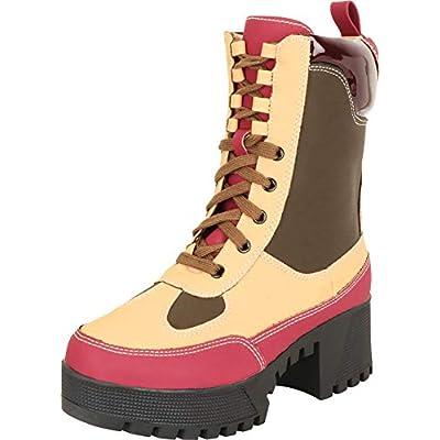 Cambridge Select Women's Lace-Up Chunky Lug Platform Block Heel Utility Combat Boot | Ankle & Bootie
