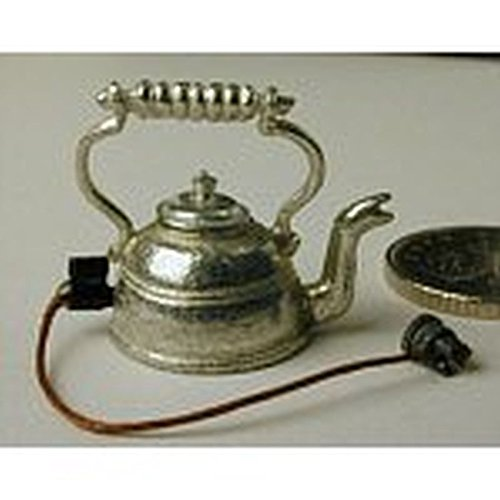 (Phoenix Models Dollhouse Miniature Polished Pewter Electric Kettle w/Cord Kit)