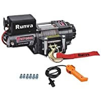 Runva 12V DC Electric Winch with Mounting Plate, Handheld Remote, Roller Fair lead for Jeeps, Suvs, Atvs 3500 lbs (1588 kg)
