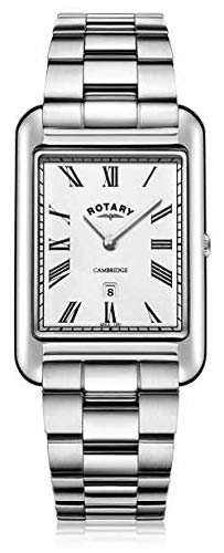 Rotary Men's Stainless Steel Watch Cambridge Rectangle White Dial 42mm GB05280/01