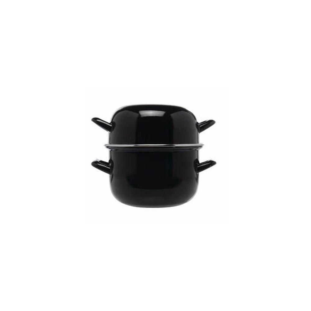 Matfer Bourgeat 070973 Black Enameled 2.5 Qt. Mussel Pot with Lid