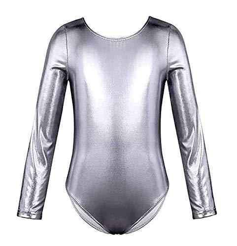 Maillot de Danza Ballet Gimnasia Leotardo Body Clásico Brillante Plateado