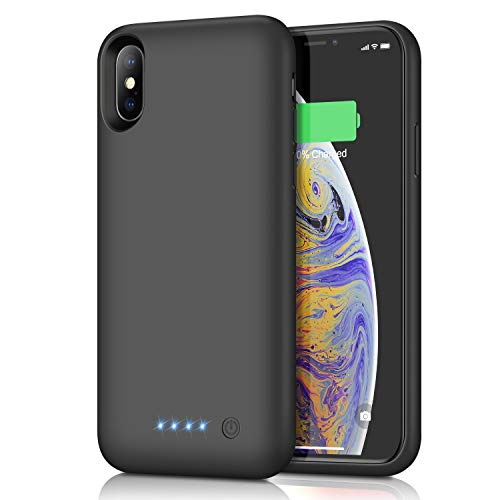 Xooparc Battery case for iPhone X/XS, [6500mah] Upgraded Charging Case Protective Portable Charger Case Rechargeable Extended Battery Pack for Apple iPhone X/XS(5.8') Backup Power Bank Cover (Black)