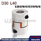 Fevas Flexible Plum clamp Coupler D30 L40 Shaft Size 6.35/7/8/10/12/12.7/14/15/16mm CNC Jaw Shaft Coupling - (Inner Diameter: 6.35 x 14mm)