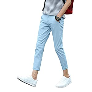 Plaid&Plain Men's Slim Fit Stretch Casual Khaki Pants Cropped Chinos Flood Pants
