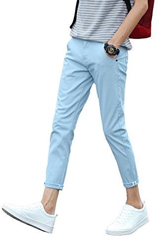 Plaid&Plain Men's Slim Fit Stretch Casual Sky blue Pants Cropped Chinos Flood Pants Sky blue 29 (Plaid Pants Blue)