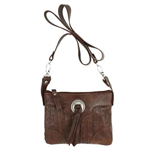 American West Leather - Small Cross Body Handbag - Purse Holder Bundle - (Brown- Bolo Concho) ()