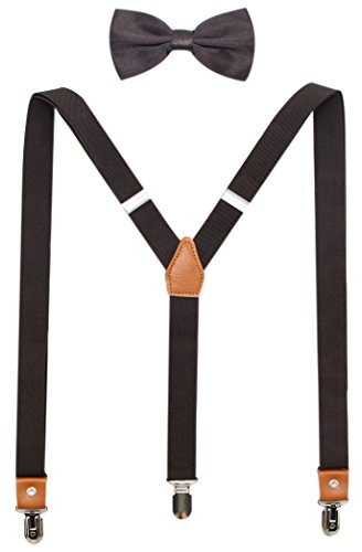 (Suspenders And Pre-Tied Bowtie Set For Boys And Men By JAIFEI, Casual And Formal (Boys(33 Inches),)