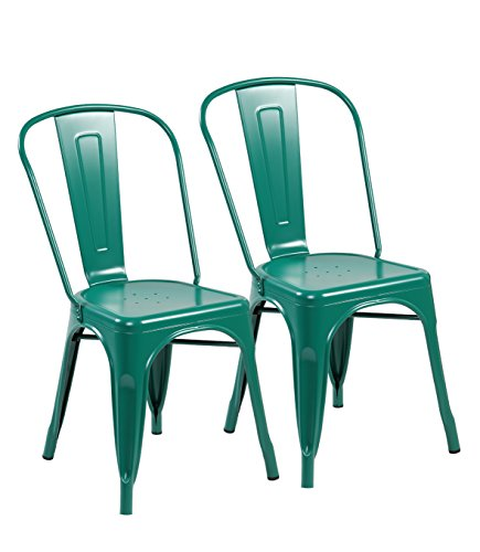 eurosports Tolix Style Chair 3004-MG-2 Metal Kitchen Dining Chairs with Back, Set of 2 Matte Green Review