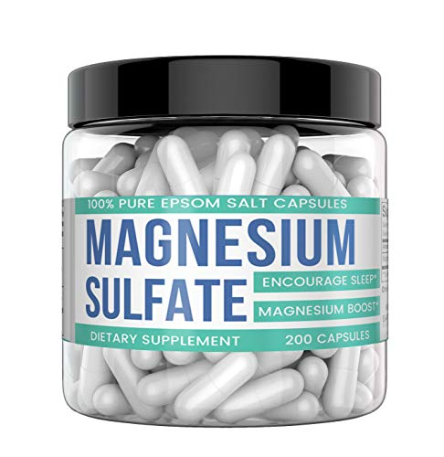 - Magnesium Sulfate Capsules, 200 Capsules (200 MG per Serving) (10-Day Supply) by Earthborn Elements, Highest Quality & Purity, Stress Relief*, Constipation*, Muscle Soreness & Cramps*, Detox*