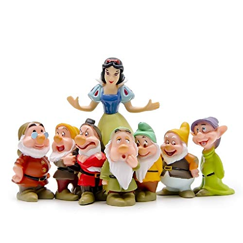 (PAPWOO Terrarium Figurines Mini Fairy Garden Miniature Snow White and 7 Dwarfs Statue Bonsai DIY Pedestrian Home Decoration Outdoor Small Ornaments Children Gifts)