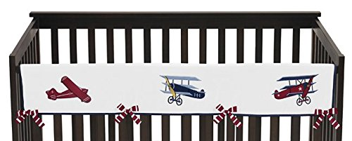 Vintage Aviator Long Front Rail Guard Baby Boy Teething Cover Protector Crib Wrap ()