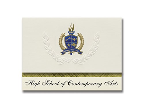 Contemporary Announcements Graduation (Signature Announcements High School of Contemporary Arts (Bronx, NY) Graduation Announcements, Presidential style, Elite package of 25 with Gold & Blue Metallic Foil seal)