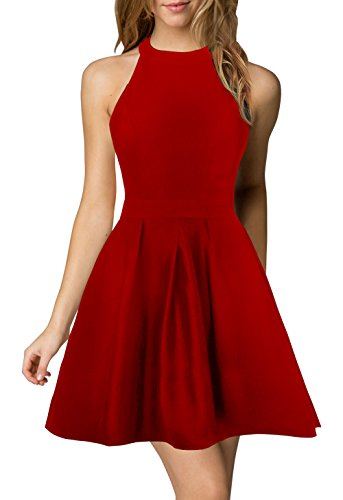 Berydress Women's Halter Neck Backless Black Cocktail Party Dress (US8,...