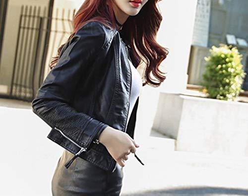 giacca donna giacca Giacca autunnale XL Slim Nero SED giacca PU locomotiva corta camicetta bello abbigliamento TvaxRq