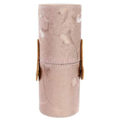 Makeup Brush Holder Cosmetic Brush Case Cylinder Case Double-clasp Storage Tube (Color - Rose - Broadway Messenger Canvas