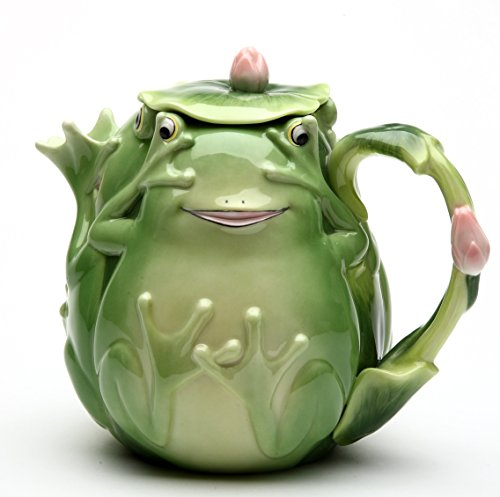 Cosmos Gifts 61529 Fine Porcelain Fairy Frog with Pink Water Lily Flower Teapot (24 fl oz), 6-1/4