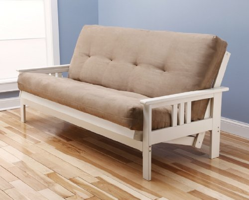 Kodiak Antique White Finish Victoria Futon Frame w/Microfiber Suede 8