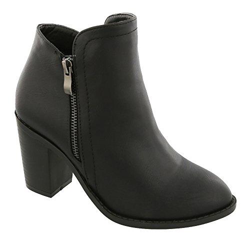 MVE Shoes Women's Side Zip High Stacked Block Heel Ankle Booties Top Moda