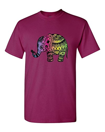 550 Red Berry - Indian Art Yoga T-Shirt Cute Elephant Lotus Shirts Berry 550
