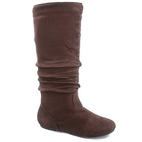 - Top Moda Data-1 Women's Shoes Cute & Comfort Round Toe Flat Heel Slouchy Mid Calf Boot (8.5, Brown)