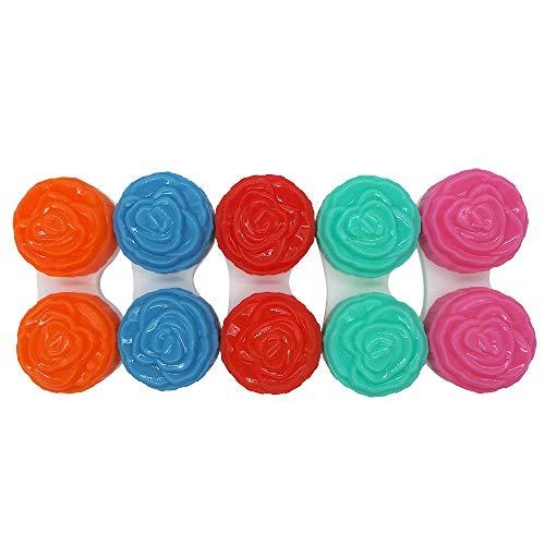 ArRord Favorite Rose Contact Lens Case Cute 5-Pack Multi Color Travel Cases